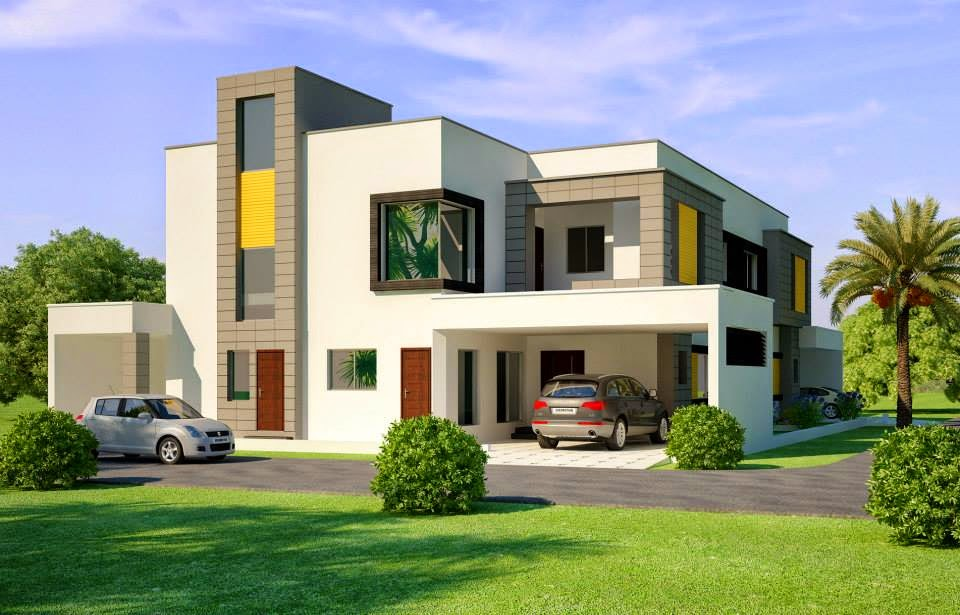 ... Beautiful House 1 Kanal Modern 3D Front elevation.com - Dimentia