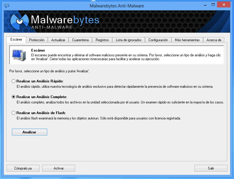 Vista previa pantalla Escaner MalwareBytes