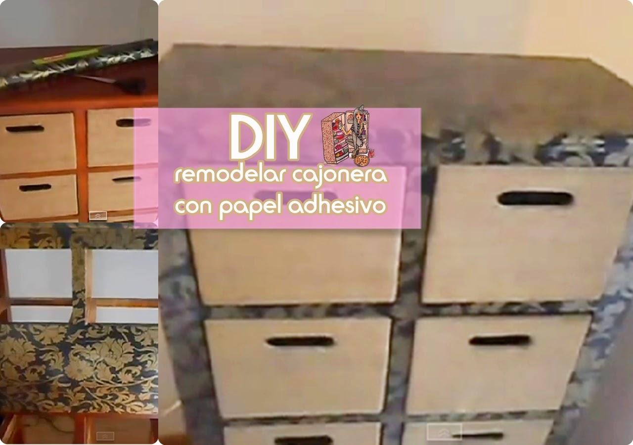 Hca decohobby remodelar un mueble o cajonera con papel for Papel adhesivo muebles