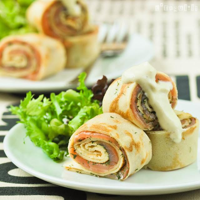Rollitos de cr pes con salm n y eneldo l 39 exquisit for Cenas frias canal cocina