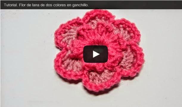 Flor tejida a crochet en video   Crochet y Dos agujas - Patrones de ...