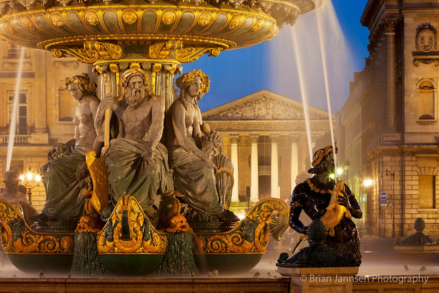 The 'Fountain of the Rivers,' pictured above, features figures representing the Rhône and Rhine rivers of Europe.