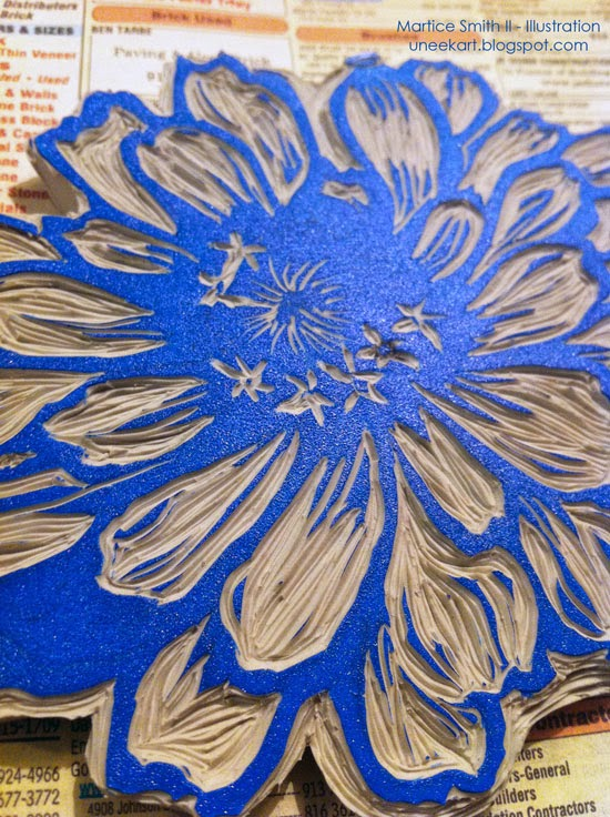 Martice Smith II's large flower stamp, tutorial; detail