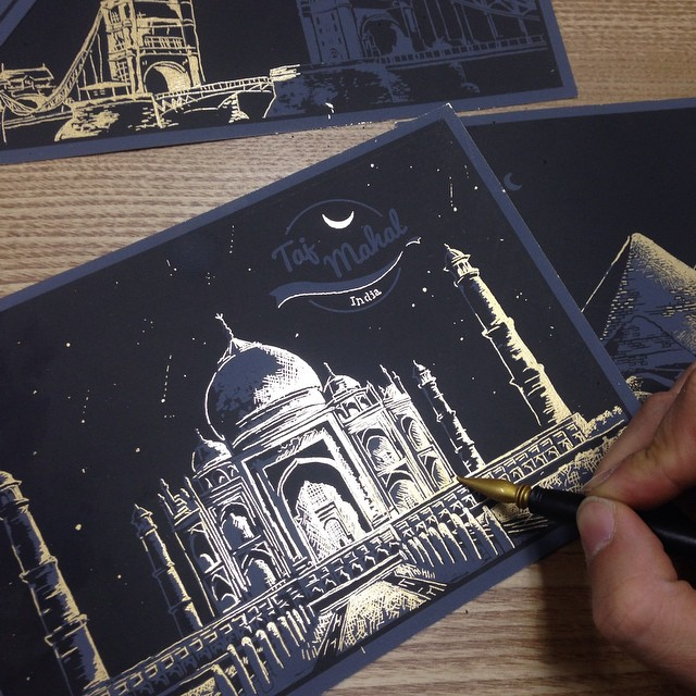 10-Taj-Mahal-India-Lago-Coloring-by-Scratching-Drawings-www-designstack-co