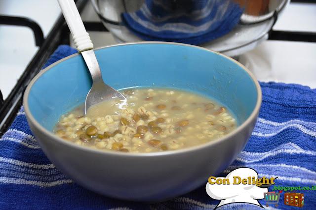מרק עדשים וגריסי פנינה barley pealrs and lentils soup