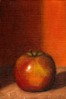 Oil painting of a Pink Lady apple.