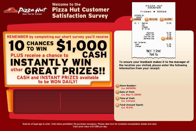 Pizza hut survey code uk/ win 1000