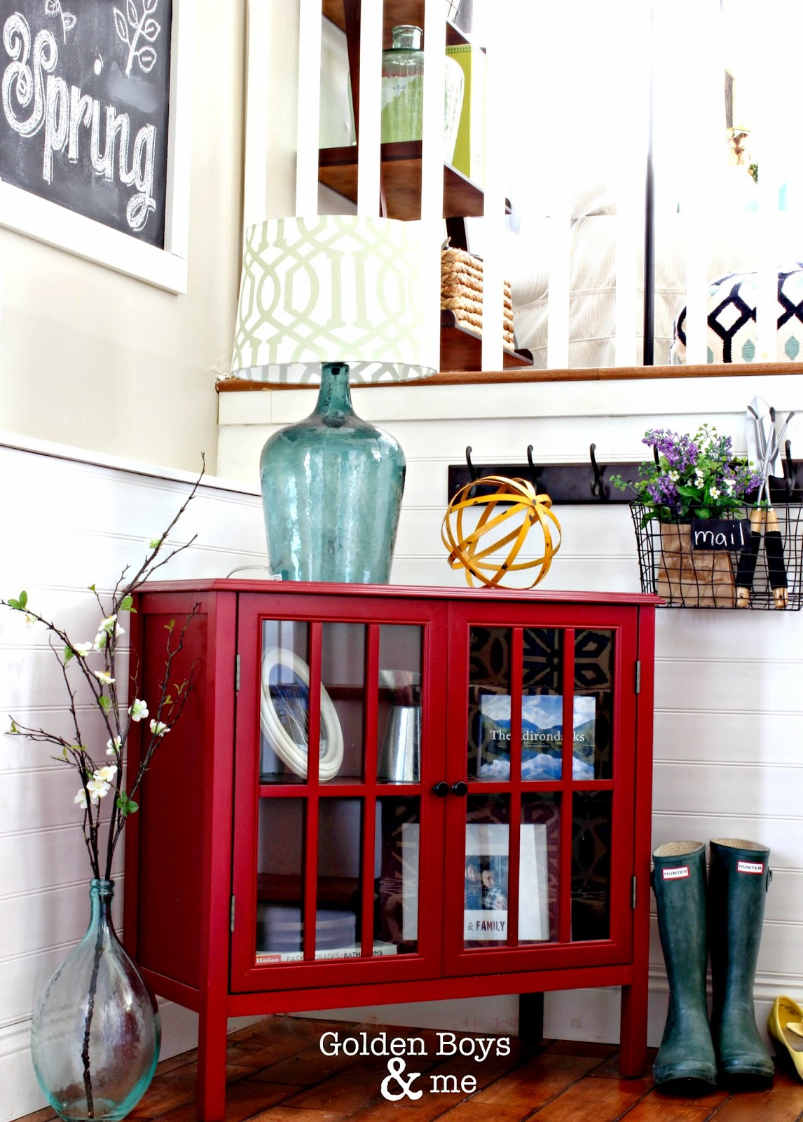 Spring entryway with Target Threshold cabinet and DIY chalkboard-www.goldenboysandme.com