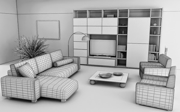 foundation dezin decor 3d model of living room
