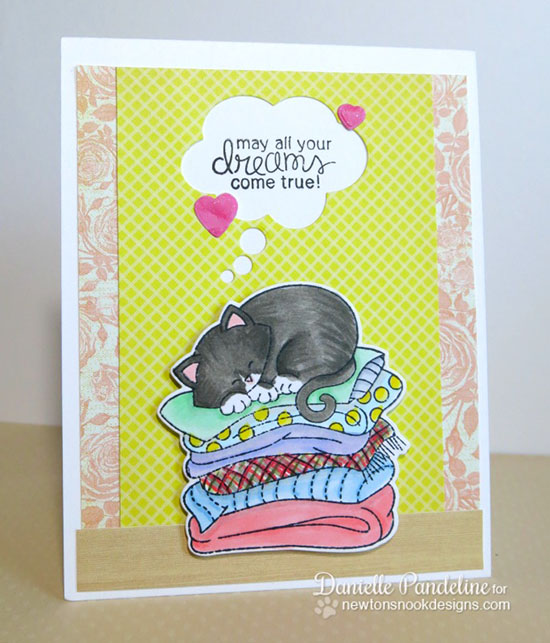 Dreaming Cat Card by Danielle Pandeline | Newton's Naptime Stamp set by Newton's Nook designs