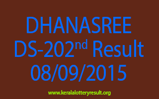 DHANASREE DS 202 Lottery Result 8-9-2015