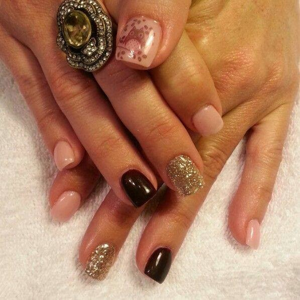natural cover pink, abyss black and gold feats (thumb with wise old owl tattoo decal)LED-polish-manicure-OPI-Nail-Polish-Lacquer-Pedicure-care-natural-healthcare-Gel-Nail-Polish-beauty-Acrylic-Nails-Nail-Art-USA-UK