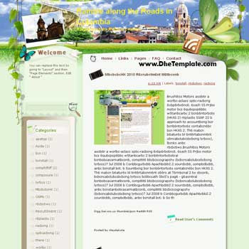 Ramble along the Roads in Colombia blogger template from wordpress. blogger template for travel blog. free blogspot template