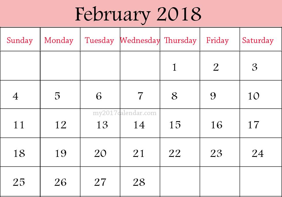 Printable Calendar 2018: [Free] * February 2018 Printable Calendar ...