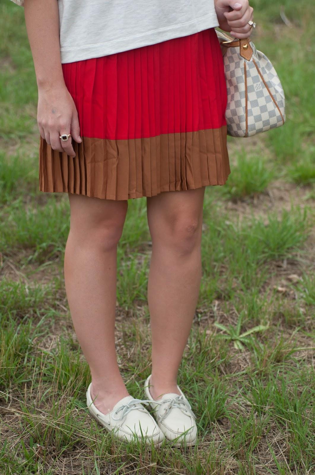 lands end skirt, lands end clothing, ootd, sperry topsider for women, sperry topsider