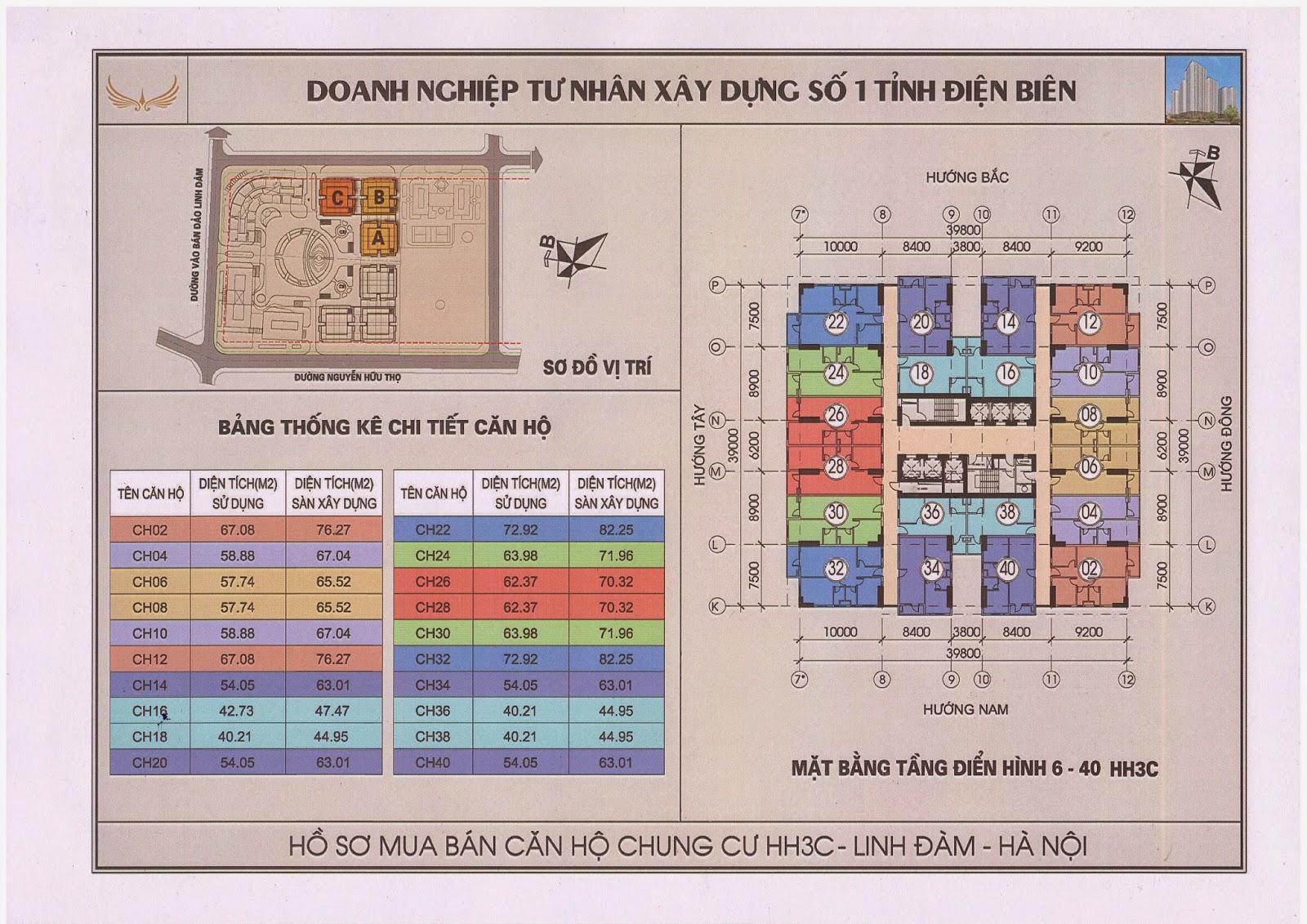 Mặt bằng tầng 6-40 chung cư hh3c linh đàm