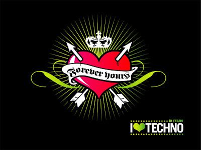 I Love techo Music Wallpaper