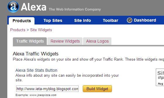 ALEXA, PANDUAN BLOGGING, TUTORIAL, CARA MEMASANG WIDGET TRAFFIC ALEXA, WIDGET TRAFFIC ALEXA, cara meningkatkan traffik blog, Site Info, Traffic Rank, Build Widget, http://ieta-myblog.blogspot.com/2013/08/cara-memasang-widget-traffic-alexa.html