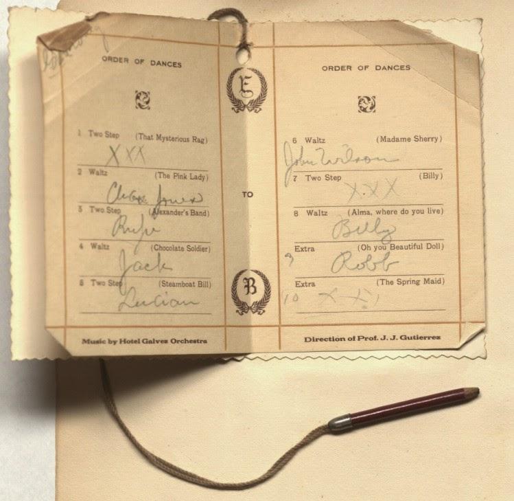 1912 dance card