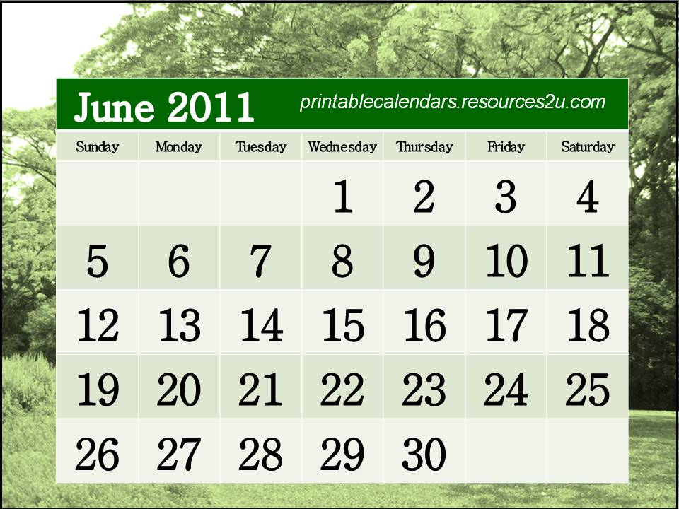 june 2011 calendar printable free. Free Calendar 2011 June to