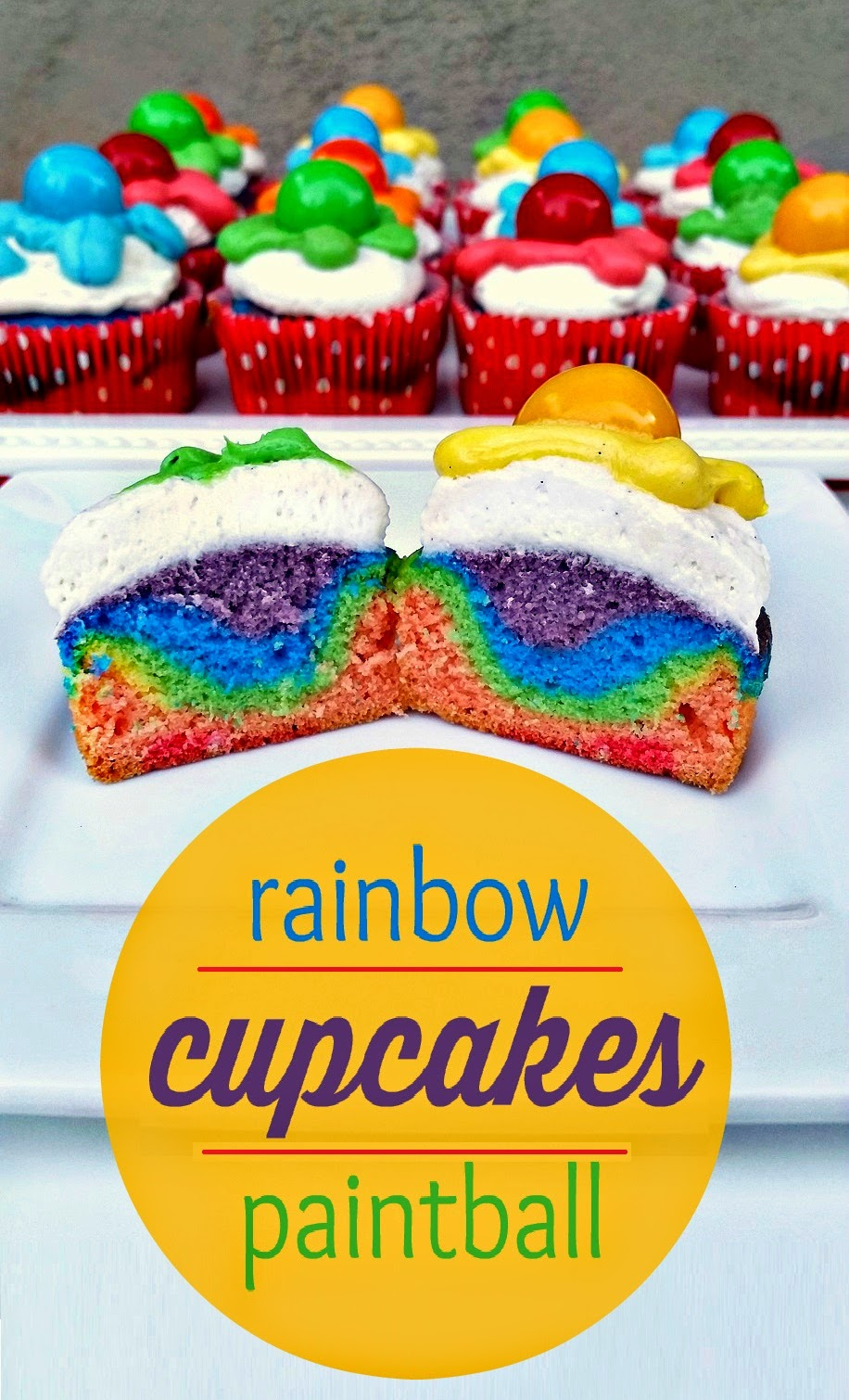 rainbow cupcakes for a paintball party