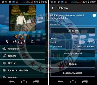 BBM Versi 2.9.0.45 Tema Blackberry Blue Dark Apk