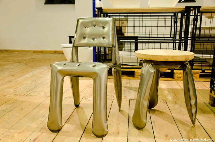 Zięta furniture, Plopp stool, Oskar Zieta, inflated steel furniture