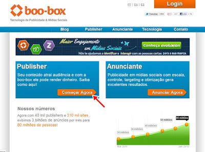 Página inicial da boo-box