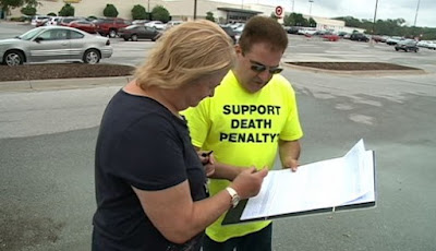Gathering signatures against the Nebraska repeal of the death penalty
