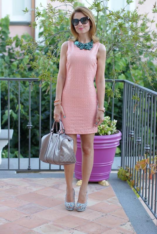 H&M peach sequin dress