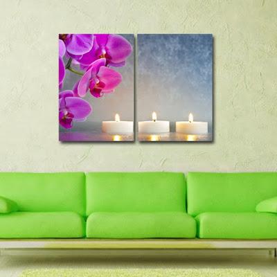Tablou canvas cu orhidee in peisaj zen