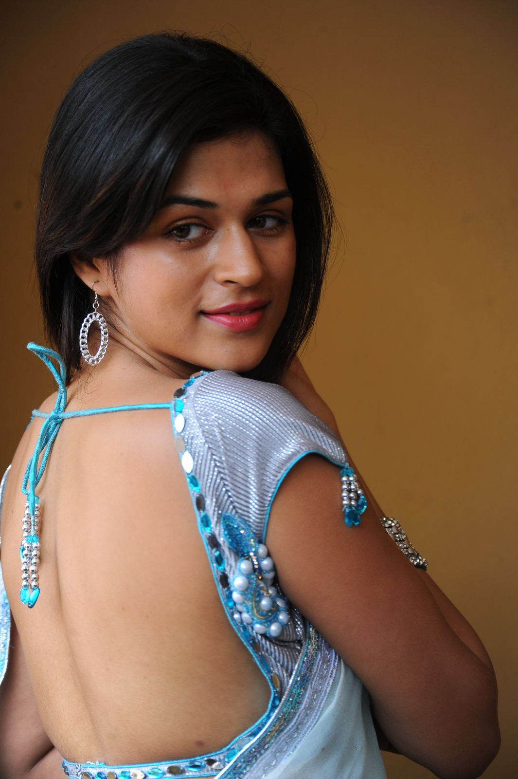 Sraddha Das Picture Gallery in Blue Saree ~ Celebs Next