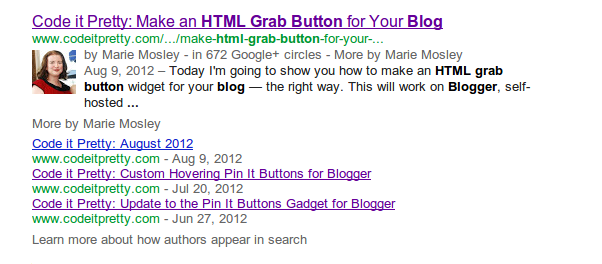 search result with three extra links from the author below the initial search result