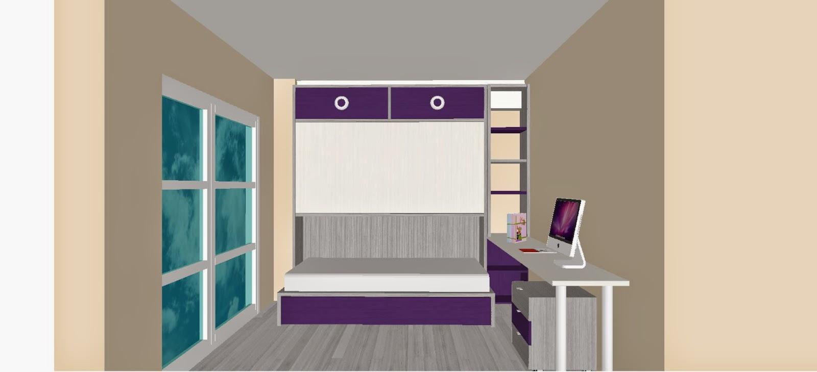 dormitorio juvenil para nias combinado en blancogris silver y morado con cama alta abatible y debajo cama nidoal lado estanteria con modulo diafano a