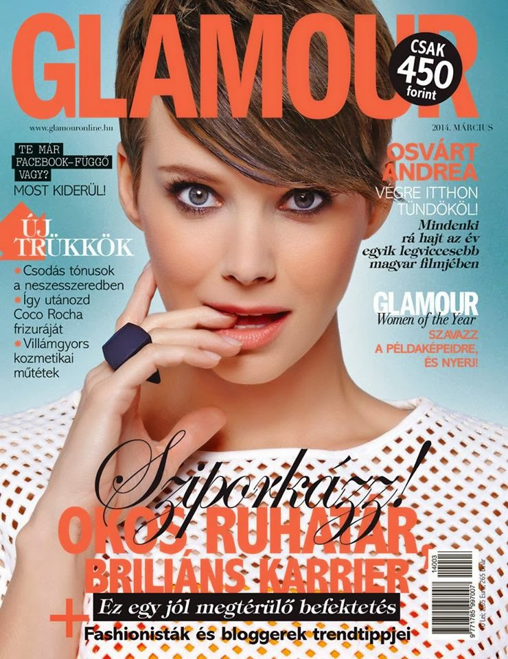 Andrea Osvárt Photos from Glamour Hungary Magazine Cover March 2014 HQ Scans