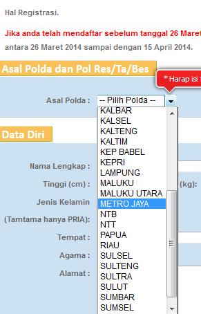 cara daftar polri online penerimaan polri untuk brigadir polri tahun 2015, Kepolisian Negara Republik Indonesia telah membuka Penerimaan Brigadir Polri dengan kuota nasional 17.750 orang yang terdiri dari 10.750 orang Brigadir Polisi Laki-Laki dan 7.000 Brigadir Polisi Wanita. cara mendaftar brigadir polri secara online lewat internet