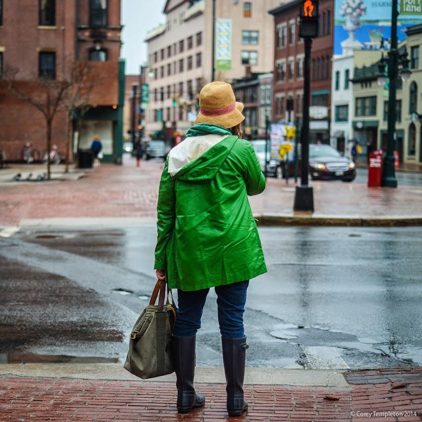 Congress Square Pedestrian Rain Jacket and Hat May 2014 Spring Portland, Maine photo by Corey Templeton