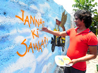 Hemant Sonawane painting his flying auto rickshaw mural - JANNAT KI SAWAARI