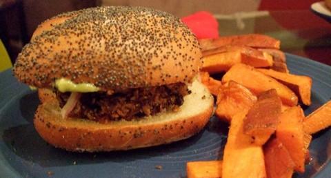 Black Bean Burger with Sweet Potato Fries