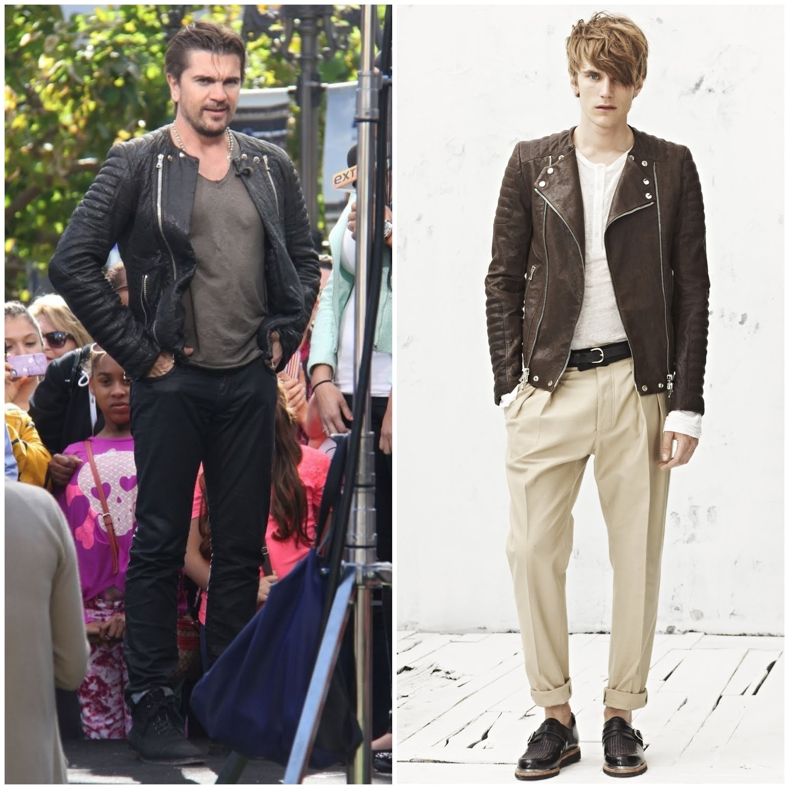 00O00 Menswear Blog Colombian musician Juanes in Balmain Homme biker jacket at The Grove to do an interview for the show EXTRA in Los Angeles, California on April 8, 2013