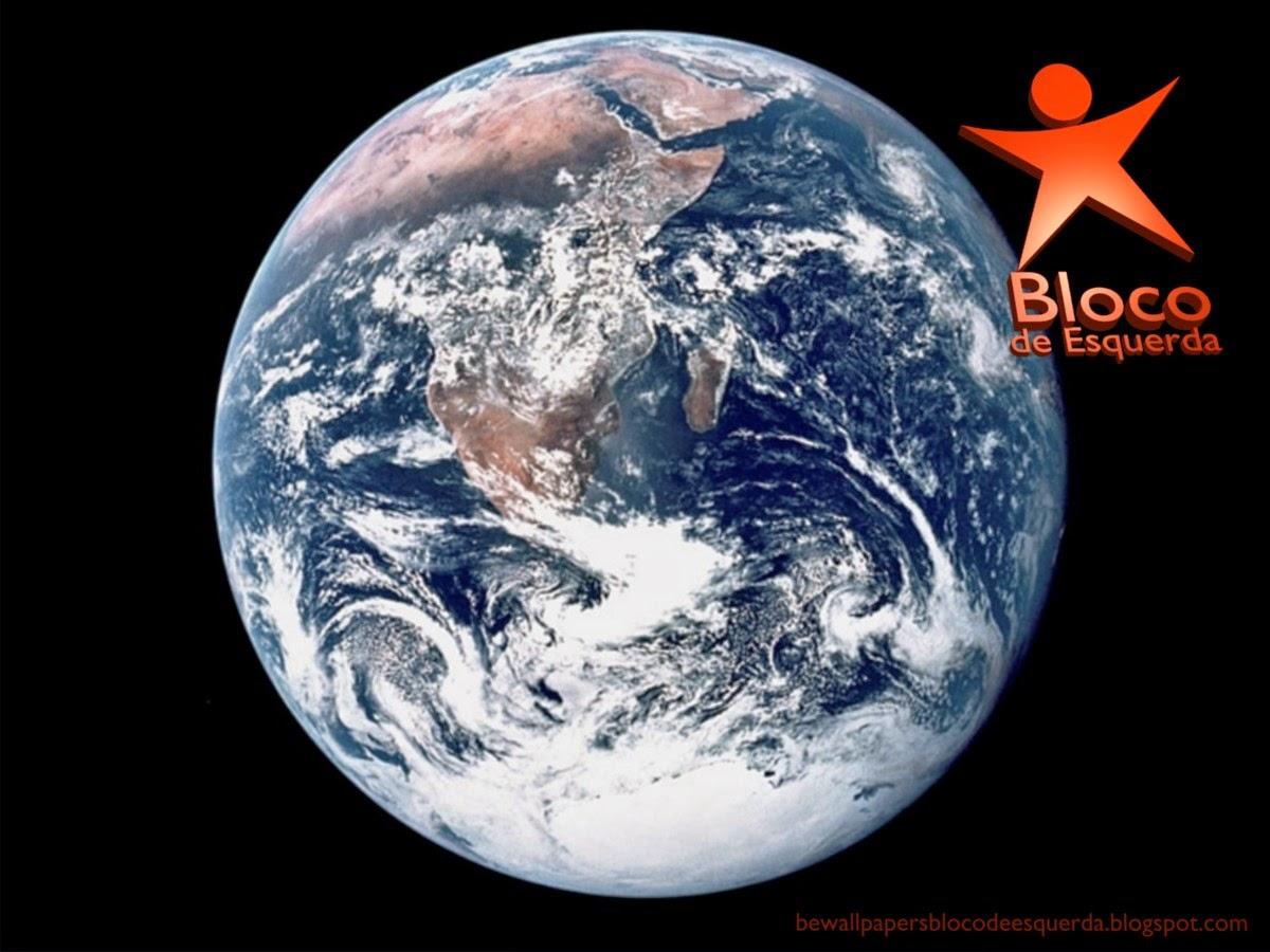 Wallpaper do Partido Bloco de Esquerda emblema em 3D inclinado do BE para utilizar como fundo de tela Planeta Terra do seu ambiente de trabalho