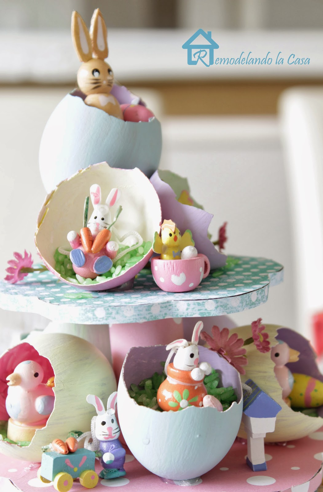 rabbits, birds, duck, chicks, carrots on Easter egg tree