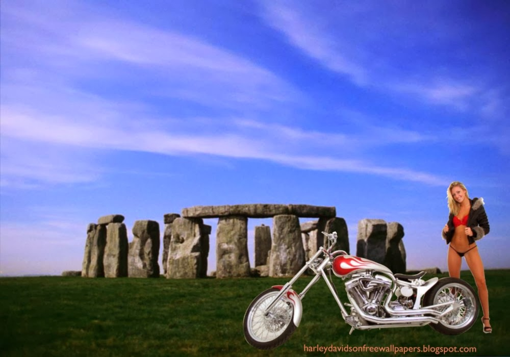 Desktop wallpapers Harley Davidson Beautiful Bikini Girl Standing near Bike at Stonehenge Stone Monument wallpaper