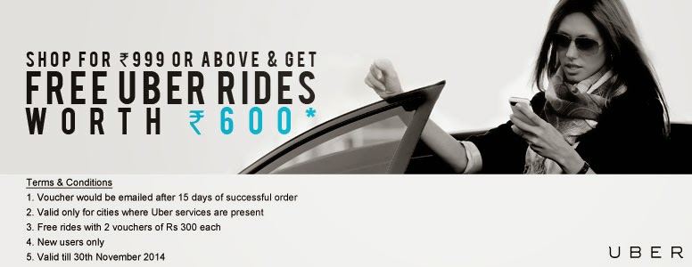 Buy at Jabong and get uber promo code  of Rs 600/- Valid till 30 nov 2014
