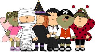 dibujo de niños disfrazados para halloween