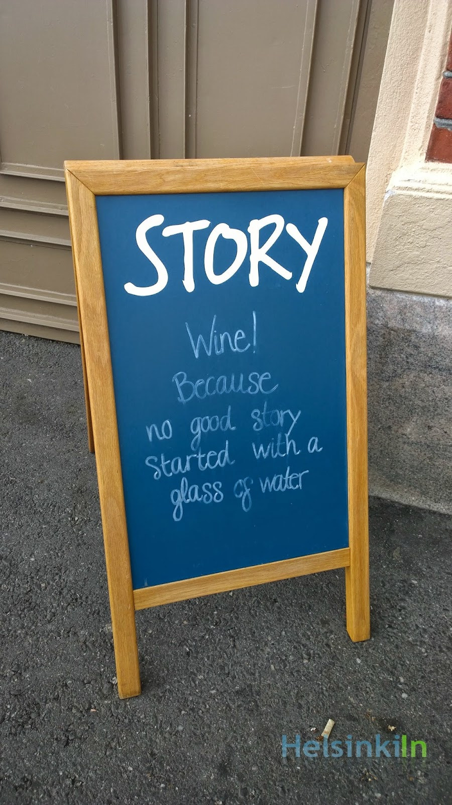 Wine! Because no good story started with a glass of water