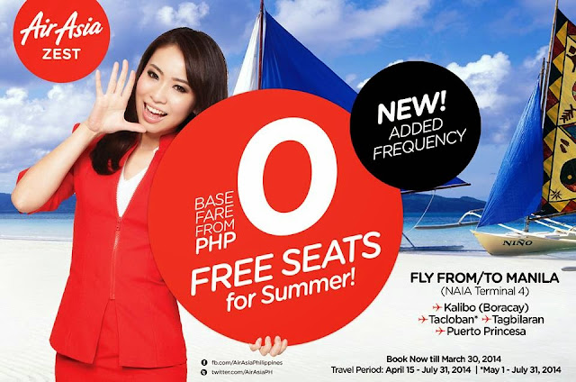 AirAsia Zest offers FREE SEATS for Summer 2014!