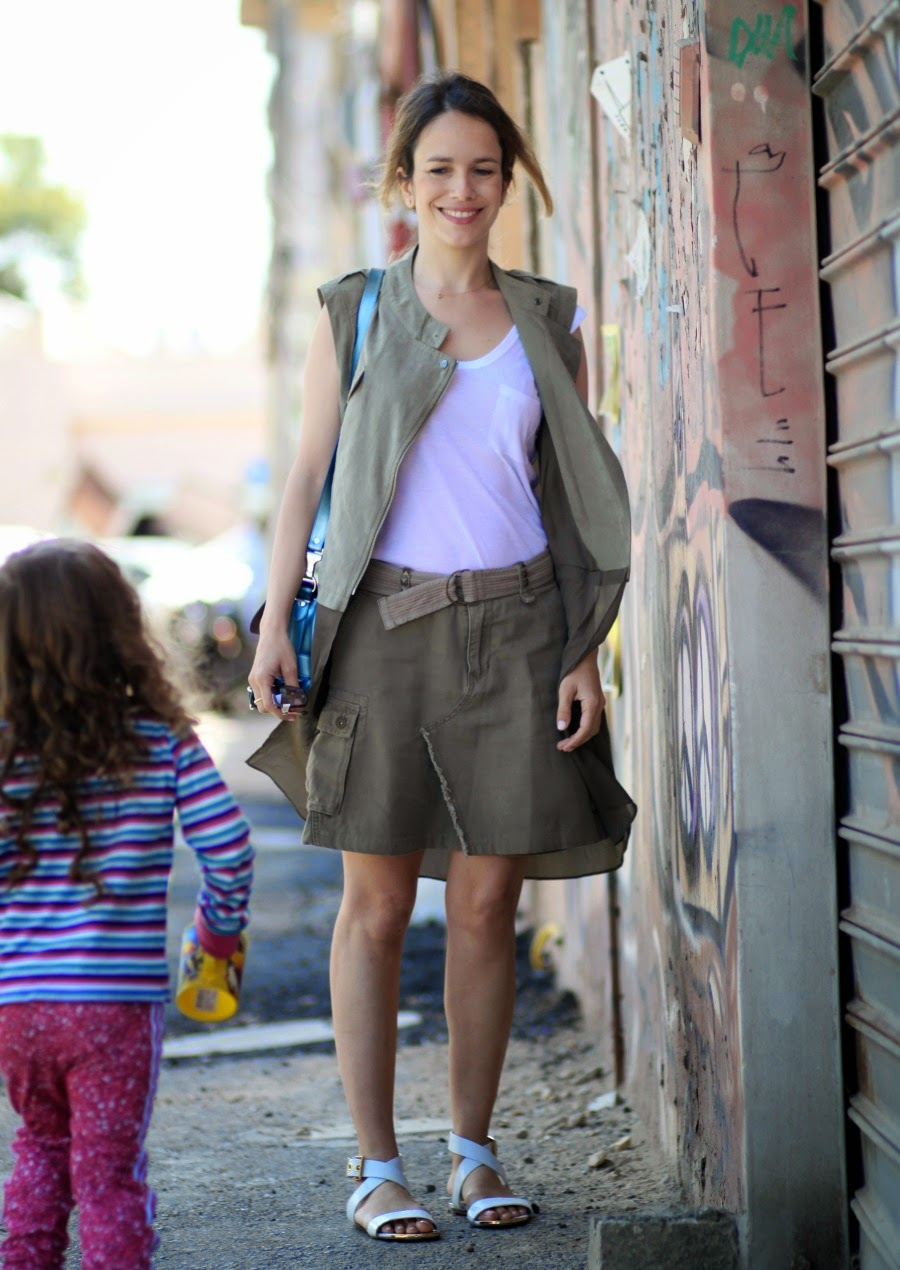 PS11, skirt, khaki, sleevlessblazer, streetstyle, child, fashionblog, fashion, lookoftheday, ootd, ss15, אופנה, בלוגאופנה