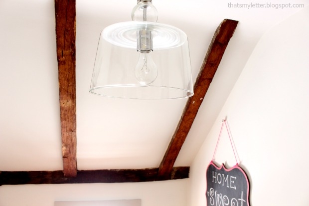loft space makeover clear glass ceiling fixture