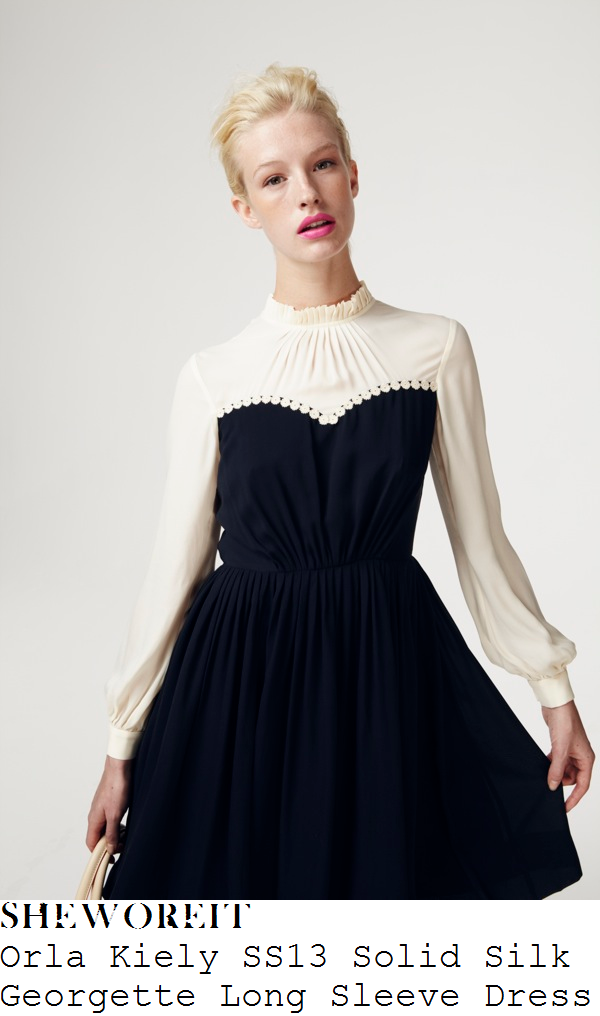 mollie-king-cream-and-navy-blue-long-sleeve-high-neck-pleated-dress